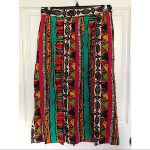 Vibrant Vintage Tribal Midi Skirt